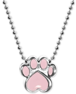 "Alex Woo Pink Enamel Activist Paw Print 16"" Pendant Necklace in Sterling Silver"