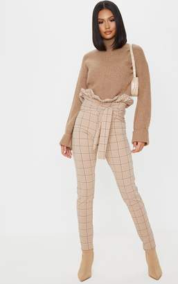 PrettyLittleThing Stone Check Tweed Check Paperbag Skinny Trousers