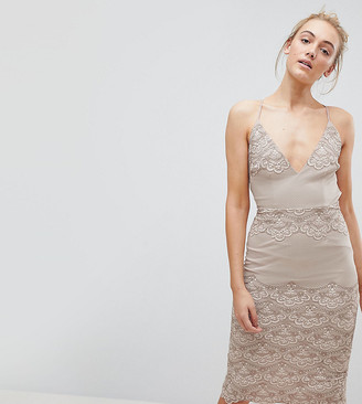 Asos TALL Delicate Placement Lace Cami Midi Pencil Dress