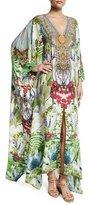 Camilla Embellished Caftan w/Split Front & Sleeves, Exotic Hypnotic