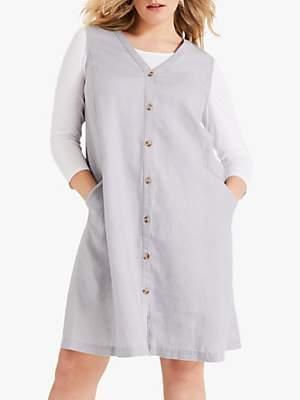 Studio 8 Ariana Buttoned Linen V-Neck Dress, Grey