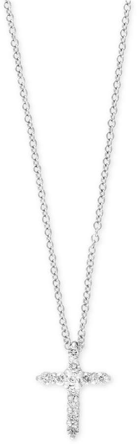 Effy Pave Classica by Diamond Cross Pendant Necklace (1/5 ct. t.w.) in 14k White Gold