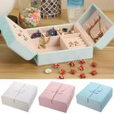ILS - PU Leather Butterfly Double Open Door Ring Anello Earrings Orecchini Jewelry Storage Box