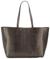 Tom Ford Large Metallic Python T Tote Bag, Dark Gray