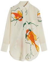 Thumbnail for your product : Victoria Beckham Fish-Print Oversized Silk Shirt