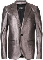 Unconditional peaked lapel metallic jacket