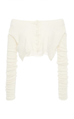 Miu Miu Off-The-Shoulder Ribbed-Knit Cashmere Silk Top