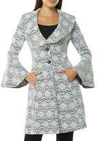 Peter Nygard Rose Print Jacquard Bell Sleeve Jacket
