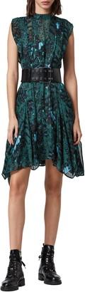 AllSaints Fleur Wing Handkerchief Hem Minidress