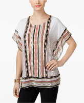 JM Collection Petite Printed Butterfly-Sleeve Tunic, Only At Macy's
