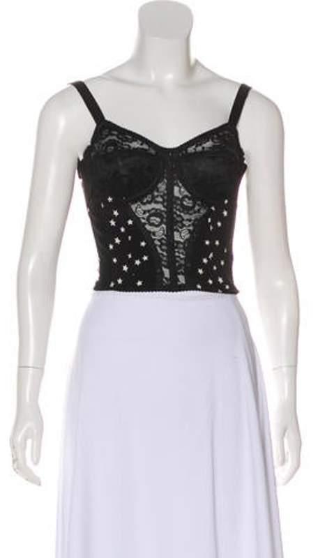 Dolce & Gabbana Star Print Sleeveless Bustier Black Star Print Sleeveless Bustier