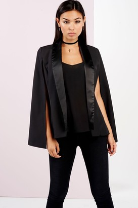 Girls On Film Outlet  Black Satin Lapel Cape Jacket