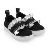 Fendi FendiGirls Black & Silver Ruffle Slip On Shoes
