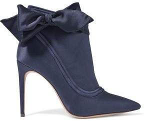 Alexandre Birman Liz Bow-embellished Satin And Suede Ankle Boots