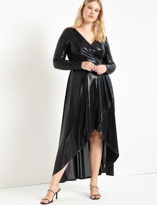 ELOQUII Metallic Maxi Wrap Dress