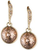 Givenchy Gold-Tone Round Crystal Drop Earrings