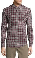 Theory Zack Plaid Long-Sleeve Sport Shirt, Pomegranate Multi