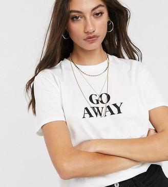 Asos Tall DESIGN Tall t-shirt with go away motif in organic cotton