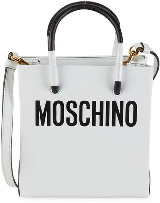 Moschino Convertible Logo Leather Tote
