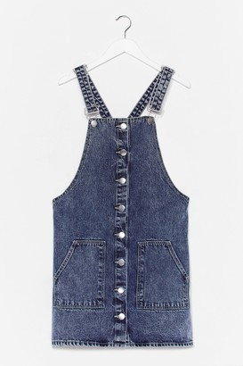 Nasty Gal Womens What Do You Jean Denim Overall Mini Dress - Washed Blue