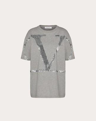 Valentino Vlogo Signature Jersey T-shirt Women Black Cotton 100% S