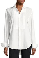 Burberry Jaden Big Shirt with Pintucked Front, White