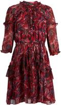 Saloni Tilly ruffle-trimmed silk-georgette dress