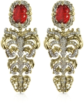 Roberto Cavalli Renaissance Light Gold Tone Metal and Ruby Clip On Earrings