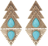 Natasha Accessories Teardrop Stone Detail Engraved Earrings