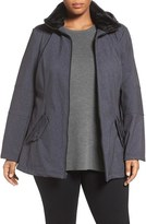Lucky Brand Plus Size Women's Faux Fur Trim Belted Soft Shell Jacket
