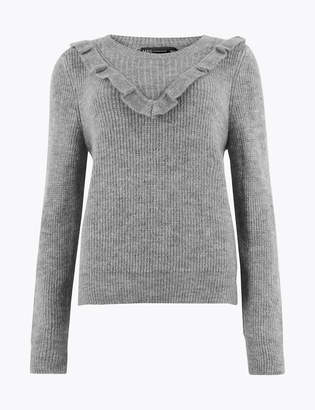 M&S CollectionMarks and Spencer Textured Frill Detail Long Sleeve Jumper