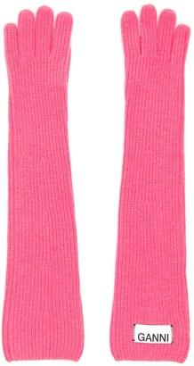 Ganni Logo Label Ribbed Gloves