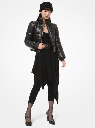 Michael Kors Plonge Leather Puffer Jacket