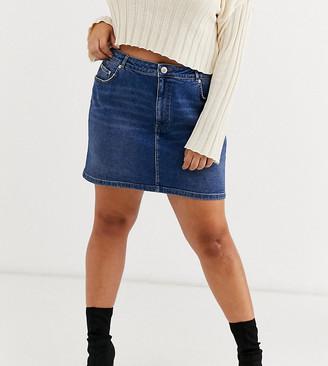 Asos DESIGN Curve denim original high waisted skirt in dark stonewash blue