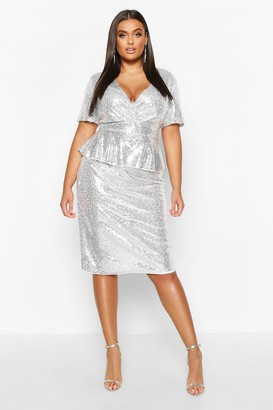 boohoo Plus Sequin Peplum Wrap Midi Dress