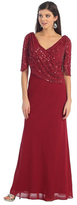 May Queen - Half Sleeve Sequin Embellished Top Chiffon Long Gown MQ996