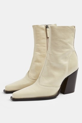 Topshop Womens Hungary Ecru Leather Western Boots - Off White
