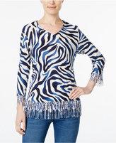Alfred Dunner Animal-Print Fringe Sweater