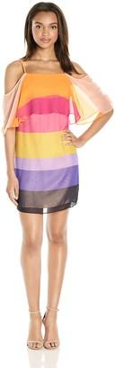 Trina Turk Women's Butterfly Golden Gate Stripe Cold Shoulder Dress