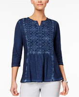 Style&Co. Style & Co Petite Cotton Embroidered-Bib Tunic, Created for Macy's