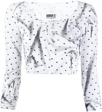 MM6 MAISON MARGIELA Creased Polka Dot Crop Top