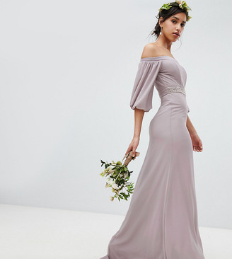 TFNC Bardot Maxi Bridesmaid Dress with Sleeve Drama and Embellished Waist-Gray