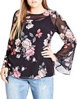 City Chic Plus Mirror Rose Bell Sleeve Top