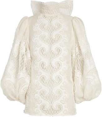 Zimmermann Brightside Embroidered Linen Blouse