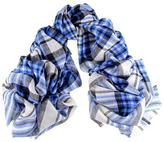 Black Black, Blue and Cream Oversized Check Cashmere Scarf
