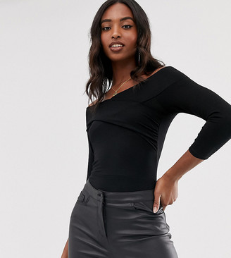 Asos Tall DESIGN Tall bodysuit with wrap front in black