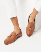 Walk London chris woven tassel loafers in tan leather