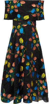 Lela Rose Off-the-shoulder Embroidered Crinkled Chiffon Midi Dress