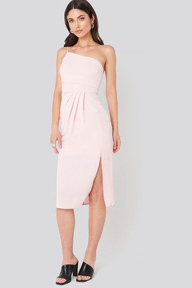 Trendyol Thin Strap One Shoulder Midi Dress Pink