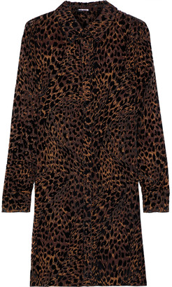 Elie Tahari Juliet Leopard-print Devore-velvet Mini Dress